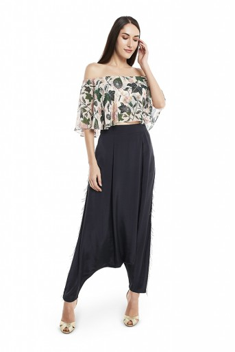 PS-FW425-WW  White Colour Printed Art Georgette Off Shoulder Ruffle Top with Black Colour Art Crepe Low Crotch Pant