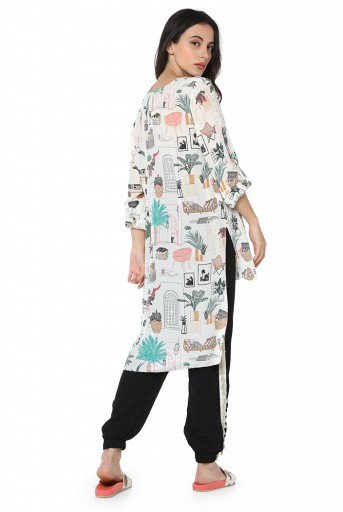 PS-TU1358-A  White Colour Printed Crepe High-Low Tunic