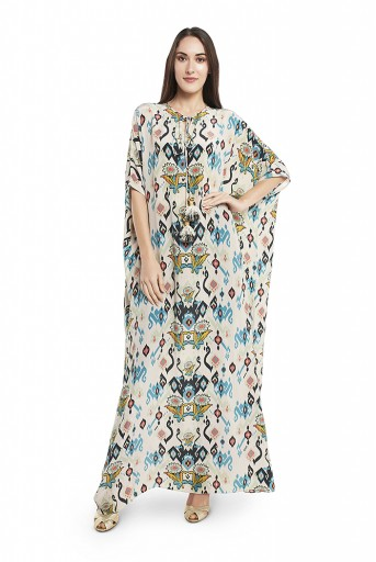 PS-KF0030-B  White Colour Printed Crepe Kaftaan