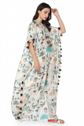 PS-KF0045-A  White Colour Printed Silkmul Kaftaan