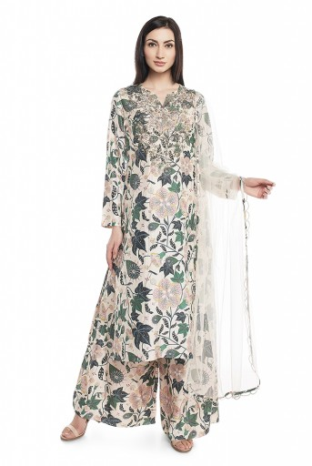 PS-ST1424-K  White Printed Cotton Silk Kurta with Palazzo and White Net Dupatta