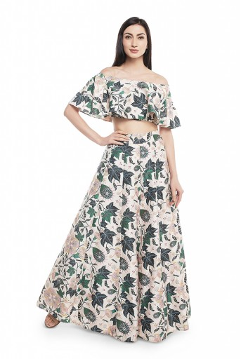 PS-ST0733-EEE  White Printed Dupion Silk Off Shoulder Ruffle Top with Lehenga