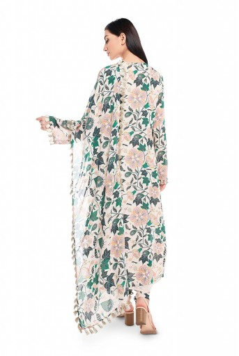 PS-FW632-F  White Printed Georgette Kurat with Churidar and Dupatta