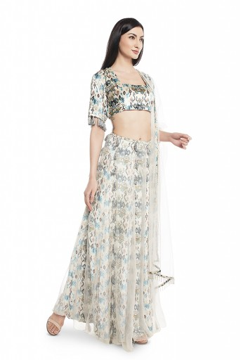 PS-FW630-C  White Printed Velvet Choli and Lehenga with Attached White Organza Layer and Dupatta