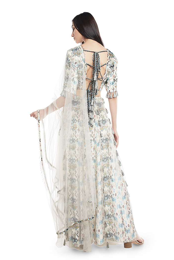 White Printed Velvet Choli And Lehenga With Attached White Organza Layer And Dupatta