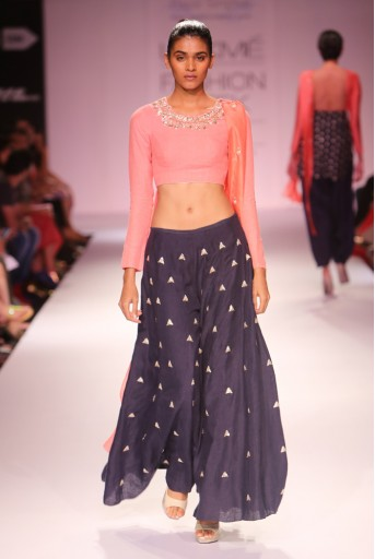 PS-FW273 Yami Pale Coral Linen Kurta with Navy Sharara Pant and Silk Dupatta