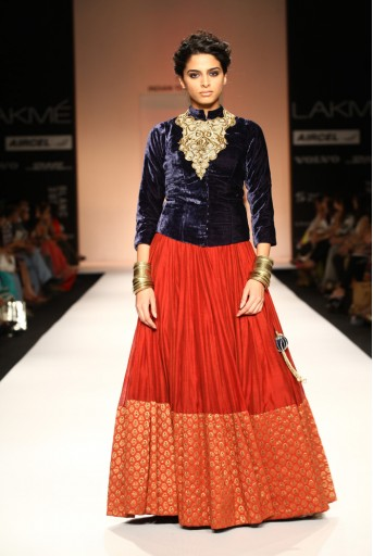 PS-FW188 Yasmin Blue Velvet Sherwani Choli with Brick Red Silkmul Lehenga
