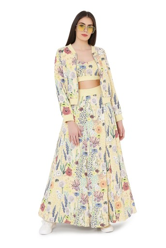 PS-FW826  Yellow Colour Printed Art Crepe Bomber Jacket with Bustier and Lehnega