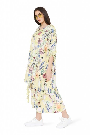 PS-FW822  Yellow Colour Printed Art Crepe Oversized Kaftaan Top with Jogger Pant