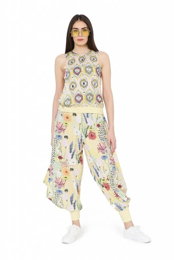 PS-FW820  Yellow Colour Printed Art Crepe Top with Bustier and Cowl Pant
