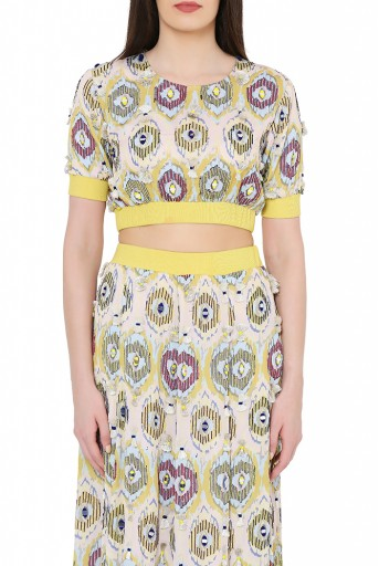 PS-FW817  Yellow Colour Printed Art Silk Balloon Top with Frill Skirt