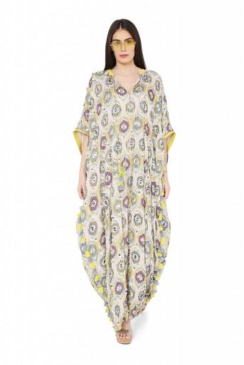 PS-FW815  Yellow Colour Printed Art Silk Free Sized Kaftaan