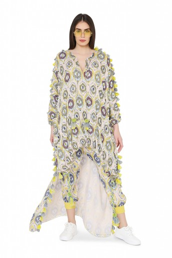 PS-FW818  Yellow Colour Printed Art Silk Oversized High-Low Kaftaan Top with Jogger Pant