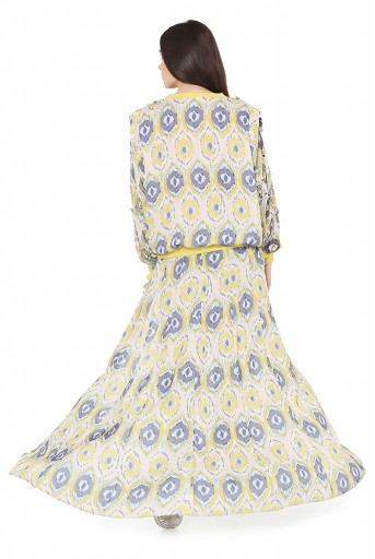 PS-FW812  Yellow Colour Printed Art Silk Top and Jogger Pant with Attached Kali Skirt