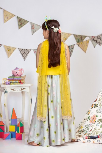 PS-KG0015 Yellow Crepe Top with Grey printed Silkmul Lehenga and Yellow Net Dupatta