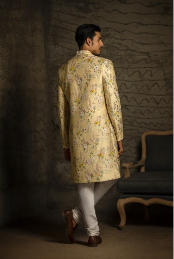 PS-MN081 Yellow Printed Dupion Silk Sherwani with Off White Cotton Silk Churidar