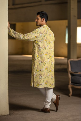 PS-MN076 Yellow Printed Silk Kurta with Off White Cotton Silk Churidar