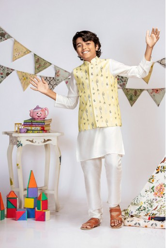 PS-KB0016 Yellow Printed Silkmul Bandi with Off white Cotton Silk Kurta and Off white Cotton Silk Churidar