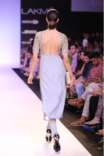 PS-FW244 Zabrina Pale Blue Linen Kurta with Soft Net Churidar and Chiffon Dupatta
