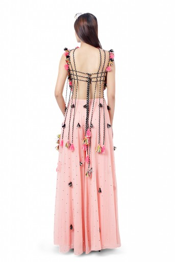 PS-FW774   Zaha Coral Colour Georgette Embroidered Tie-Up Choli with Mukaish Georgette Sharara