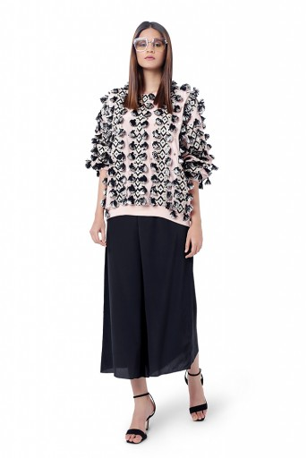PS-FW769  Zaha Rose Pink Colour Georgette Embroidered Oversized Top with Black Colour Crepe Culottes Pant