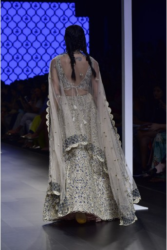 PS-FW499 Zainab Blush Silk Choli and Lehenga with Tulle Dupatta