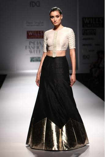 PS-FW301 Zakya Stone Dupion Silk Choli with Black Dupion Silk and Gold Leather Triangle Hem Border Lehenga