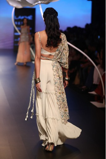 PS-FW540 Zamira Stone Crepe Bustier and Sharara Pant with Georgette One Side Jacket and Gold Lace Belt