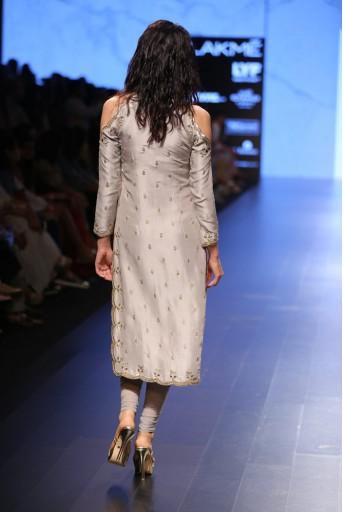 PS-FW399 Zarin Dove Grey Silk Kurta with Soft Net Churidar