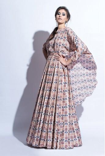 PS-FW303 Zeba Blush Printed Crepe Kaftan with Dupion Silk Skirt