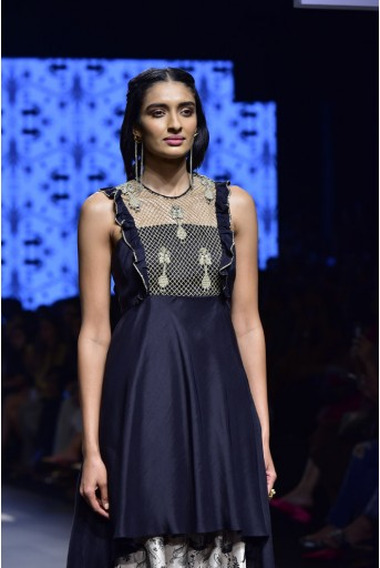 PS-FW465 Ziba Black Embroidered Kurta and Blush Printed Silk Salwar