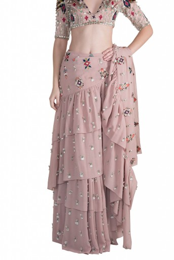 PS-FW623 Zila Rose Pink Georgette Choli with Friil Saree