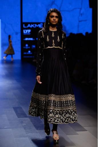 PS-FW416 Zohra Black Silkmul Anarkali with Koti and Soft Net Churidar