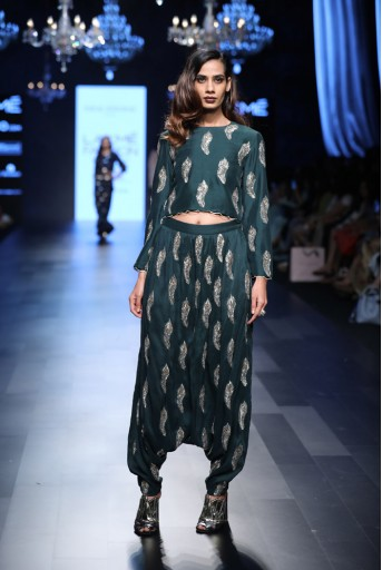 PS-FW449 Zora Emerald Green Crop Top with Low Crotch Pant