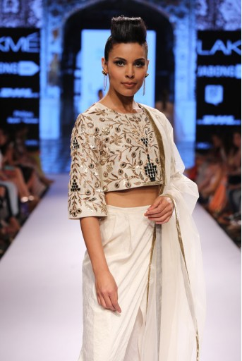 PS-FW311 Zubaida Ivory Dupion Silk Crop Top with Dhoti Pant and Tulle Dupatta