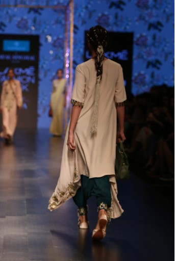 PS-FW566 Zumara Stone Crepe Overlap Kurta with Ocean Teal Silk Low Crotch Pant