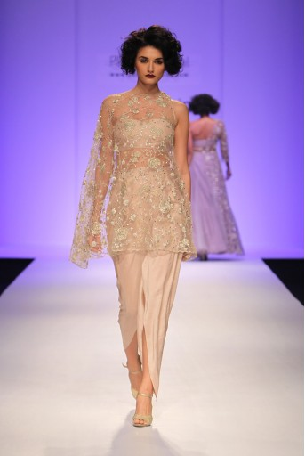 PS-FW338 Zuri Blush Tulle Cape with Silk Bustier and Dhoti Pant